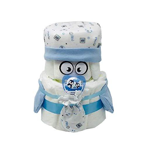 Kleines Windelbaby Bärchen PIMFI 23tlg. in blau für Jungen. Geschenk zur Geburt Babyparty Taufe (Blau) Geschenkfertig in Folie verpackt.