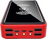 Chargeur sans Fil Solaire Portable 100000Mah Power Bank - Batterie Externe avec Indicateur D'état LED, Powerbank Haute Capacité, pour Iphone, Android, Rouge
