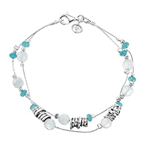 Seaside Natural Jade & 8 ct Milky Aquamarine Beaded Double-Strand Bracelet in Sterling Silver