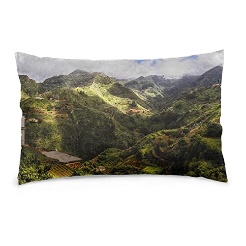 Tenerife Mountains Canaries - Fundas de almohada cuadradas para sofá de verano, fundas de almohada de terciopelo, funda de cojín para dormitorio, funda de almohada suave, 40,6 x 60,9 cm