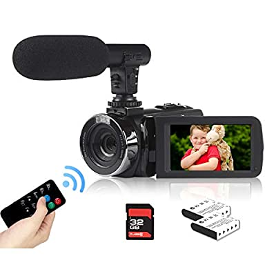 Video Camera Camcorder 2.7K Vlogging Camera for YouTube 42MP Digital Camera Camcorder 18X Digital Zoom 3.0 Inch Screen 270° Flip Video Camcorder with Microphone/Remote/2 Batteries/32GB SD Card by Heegomn