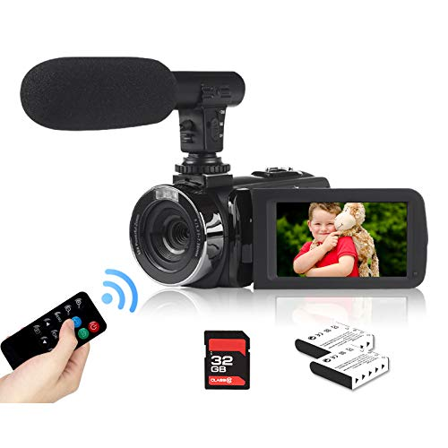 2.7K Video Camera Camcorder YouTube Vlogging Camera 42MP Digital Camera Camcorder 18X Digital Zoom 3.0 Inch Screen 270° Flip Video Camera with Microphone, Remote, 2 Batteries, 32GB SD Card