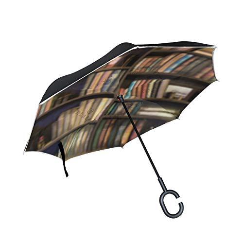 Paraguas invertido de Doble Capa, a Prueba de Viento, para Exteriores, para Lluvia, Sol, para Coche, con asa en Forma de C, Muchos Libros Antiguos en la estantería de la Biblioteca