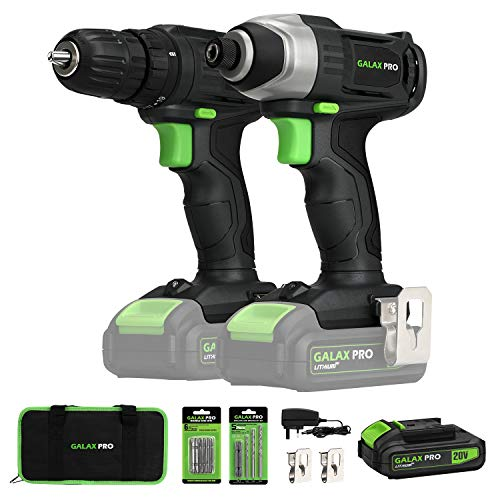 20V Max 2 speeds Drill Driver and Impact Driver Combo Kit, GALAX PRO Cordless Drill Driver/Impact Driver with 1pc 1.3Ah Lithium-Ion Batterie, Charger Kit, 11pcs Accessories and Tool Bag
