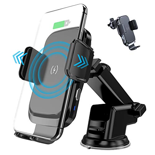 BKTD Wireless Car Charger Mount,15W Qi Fast Charging Automatic Clamping Phone Holder, Air Vent Dash Compatible/w iPhone 12/12mini/11 Samsung Galaxy S20/10/9/8, Note 20/10/9, LG, Google Pixel and more.