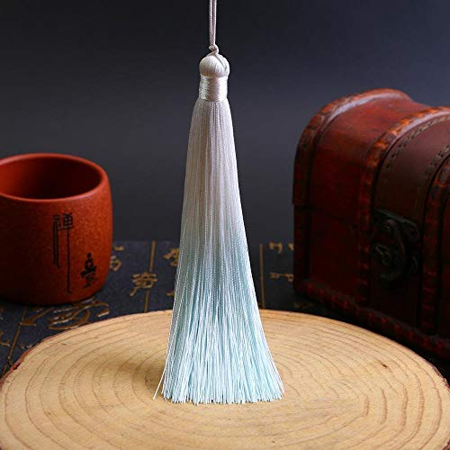 AFANGMQ 5pcs/Pack 13cm Quietly Elegant Gradual Color Polyester Silk Tassels Fringe DIY Craft Curtains Hang Rope Clothes Trim Accessories (Color : Cyan Tassels)
