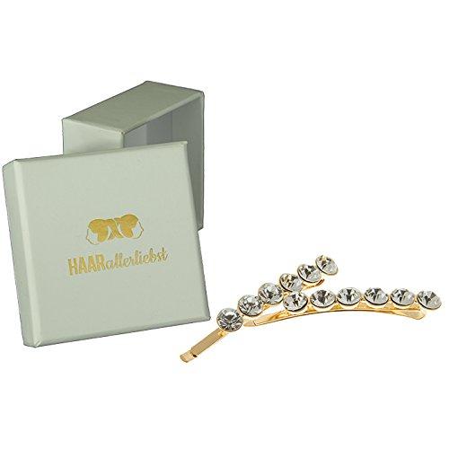 HAARallerliebst Haarspangen mit Strass (2 Stück | gold | 6cm) inkl. Schachtel zur Aufbewahrung (Schachtelfarbe: weiss)