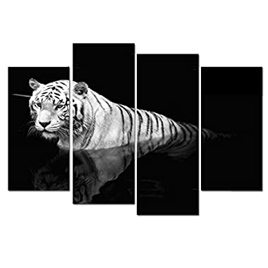 Wieco Art Tiger in the Water 4 Piece Black and White Giclee Canvas Prints Wall Art Modern Stretched and Framed Grace Animals Pictures Photo Paintings Artwork for Living Room Bedroom Home Decorations