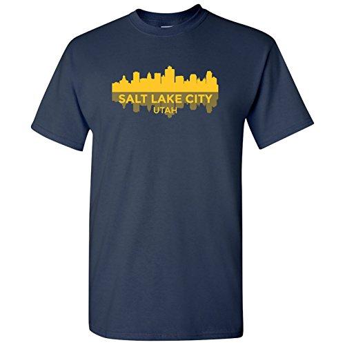 Salt Lake City, Utah Skyline - Hometown Pride, Utah Pride T Shirt - Medium - Navy