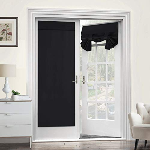 Blackout Curtain for French Doors - Thermal Insulated Blackout Glass Door Curtain Panel Tricia Curtain for Door Window Curtains, Single Panel, 26 x 68 Inches, Black