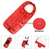 CozyMe Winter Outdoor Tour Weatherproof Toddler Universal Stroller Sleeping Bag, High Performance Stroller Footmuff, Length and Temperature Adjustable Baby Bunting Bag, Red
