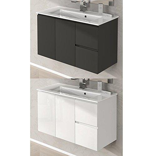 Bagno Italia Arredo Bagno da 80 cm sospeso Mobile con lavandino Ceramica 2 Colori Bianco Grigio Talpa I