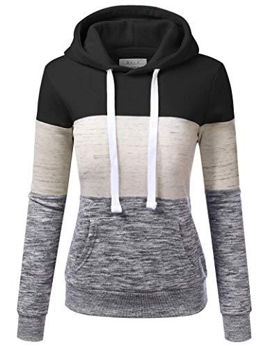 SotRong Women's Hooded Sweater Color Block Long Sleeve Hoodie Sweatshirt...