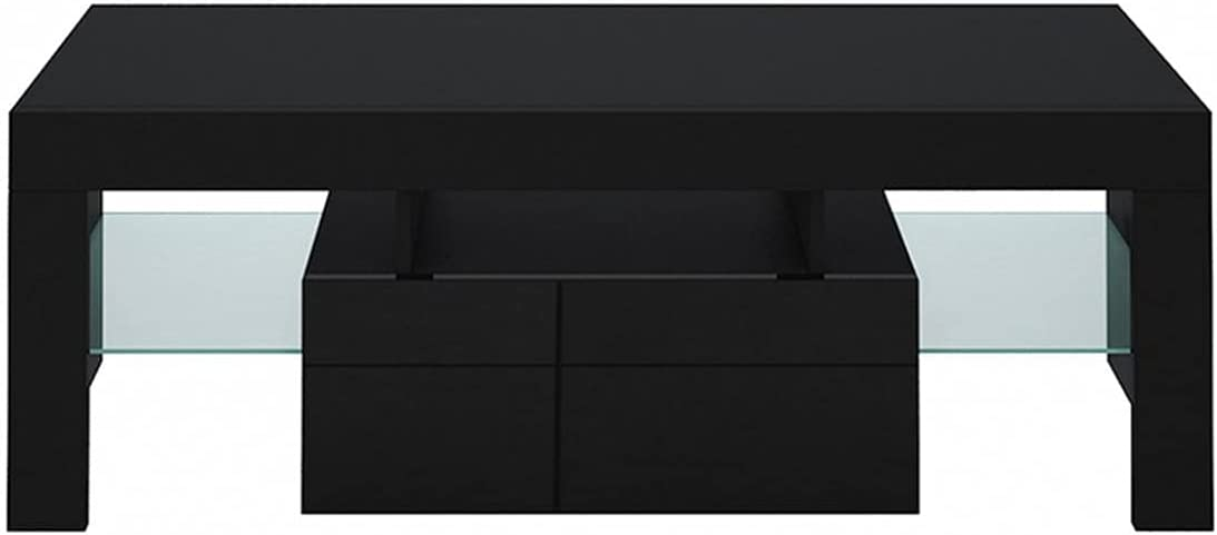 Black TV Ranking excellence TOP15 Stand with Lights Table Console for Storage