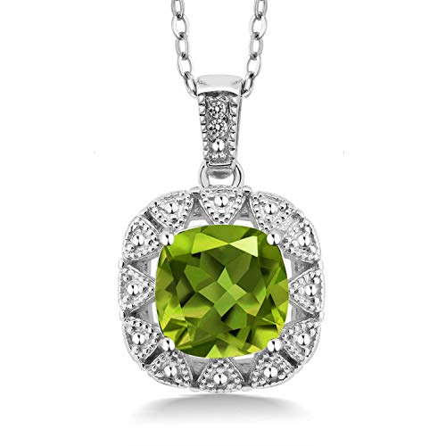 Gem Stone King 925 Sterling Silver Green Peridot and White Diamond Women Pendant Necklace (2.46 Cttw Center Stone: 8MM Cushion, with 18 Inch Silver Chain)