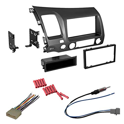 CACHÉ KIT16 Bundle with Car Stereo Installation Kit for 2006 – 2011 Honda Civic – in Dash Mounting Kit, Antenna, Harness for Double Din or Single Din Radio Receivers (4 Item)