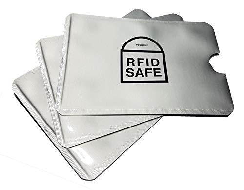 equipster RFID Blocking NFC Schutzhüllen 3 Stück Farbe Silber für Kreditkarte Scheckkarte Personalausweis EC-Karte Bankkarte Ausweis - Schutz gegen unerlaubtes Auslesen - Kreditkarten RFID Blocker