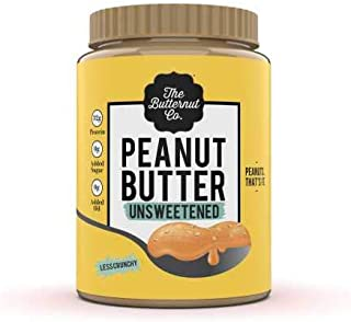 The Butternut Co. Peanut Butter Unsweetened, Less Crunchy 925 gm (No Added Sugar, Vegan, High Protein, Keto)