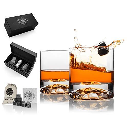 Juego de whisky Chicago como regalo para marido con 2 copas inferiores de cristal. Juego de whisky premium como regalo para 5º aniversario. El mejor regalo para los amantes del whisky