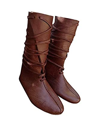 Syktkmx Mens Renaissance Lace Up Loafer Boots Medieval Cosplay Pirate Viking Tied Halloween Shoes Brown Size 11 from