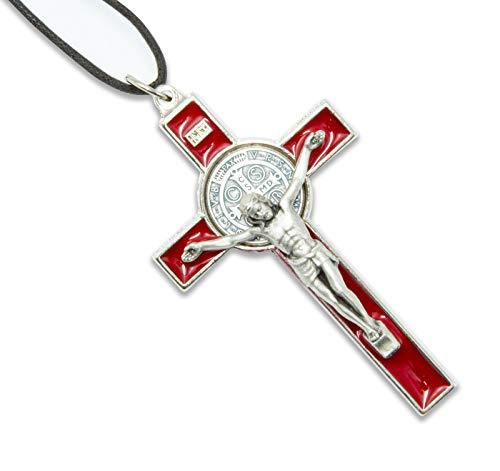 La Balestra Croce di San Benedetto in Metallo - Corpo Placcato Argento 999 - Made in Italy - 8X5,5 cm (Rosso)
