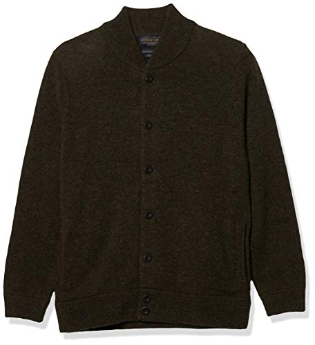 Pendleton Men's Shetland Bomber Style Cardigan Sweater, Dark Army Green, MD