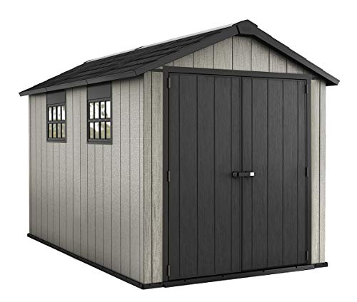 Keter Oakland 7.5x11 Foot Large Resin Outdoor Shed with Customizable Walls for Lawn Mower and Bike Storage, 7.5 x 11, Grey