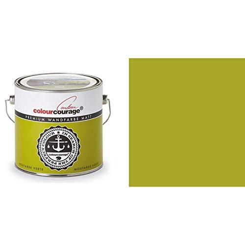 2,5 Liter Colourcourage Premium Wandfarbe Moutarde Verte Gelb Grün | L709449L04 | geruchslos | tropf- und spritzgehemmt