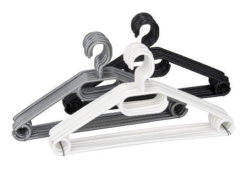 WENKO Cintres Easy noir, gris, blanc - set de 10, cintres, barre pour pantalons, encoches jupes, porte-écharpe et cravate, Polypropylène, 40.5 x 21 x 0.7 cm, Assorti