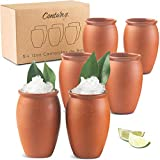 CANTAREY 12oz Cantaritos de Barro - Set of 6 Cocktail Glasses for Tequila, Margaritas, Mojitos and more - Taco Tuesday Cocktail Cups - Mexican Fiesta Jarritos de Barro Mexicanos