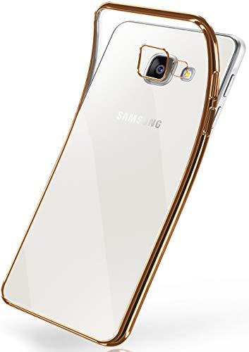 moex Transparente Silikonhülle im Chrome-Style kompatibel mit Samsung Galaxy A3 (2016)   Flexibler Schutz mit Hochglanz Metallic Rahmen, Gold