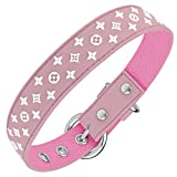 Designer Dog Collar for XSmall, Small, Medium and Large Breeds, in Black, Brown, Pink, Blue, Red and Monochrome (L, Light Pink)