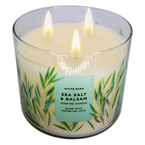 White Barn Bath and Body Works, 3-Wick Candle w Essential Oils - 14.5 oz - 2021 Spring Scents! (Sea Salt & Balsam)