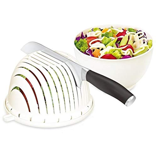 Fantasee Easy Fruit Vegetable Salad Cutter Bowl, Multi-Function Kitchen Colander Strainer Double Layered Rotatable
