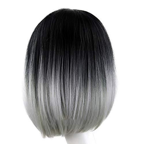LUBITY Perruques Courtes Perruques Synthéytiques de Cheveux Chaleur Naturelle 2 Tonalités Complet Perruques épaule Longueur Fibre Droite Féminin (Gris Noir + Lumière)