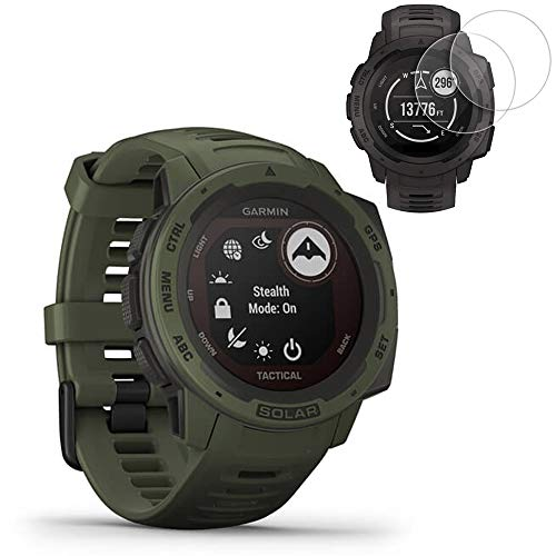 Garmin Instinct Solar Smartwatch Tactical Edition(010-02293-14) w/ 2X Screen Protectors