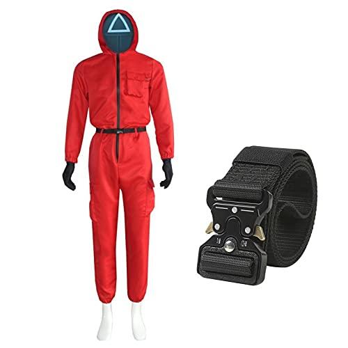 arbitra Juego de Calamar el Mismo Mono Rojo con Capucha y cinturn Disfraz de Cosplay de Halloween Unisex para Hombres y Mujeres