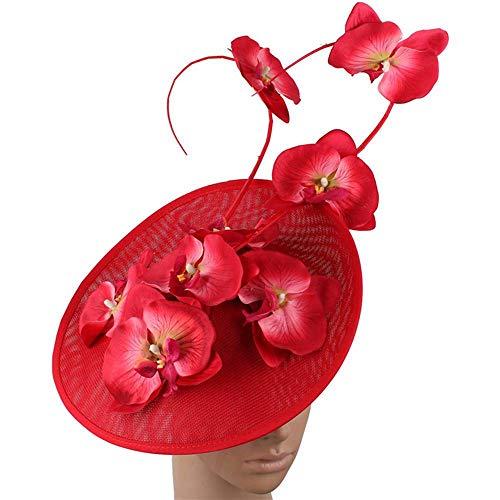 FHKGCD Elegante Tocado De Plumas para Mujer Boda Nupcial Pinza De Pelo Sombrero Tocado Señora Hot Pink Floral Pattern Headwear para Cóctel De Fiesta, Rojo,