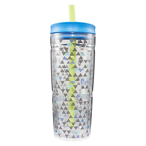 bubba Envy Dual-Wall Insulated Tumbler with Straw, 24 oz., Blue Graphic Triangles