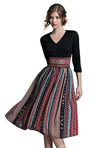 LAI&MENG Damen 2 in 1 Midi Kleid mit Blumenmuster Swing Casual A-Linie Cocktailkleid Partykleid,Streifenmuster 1,34