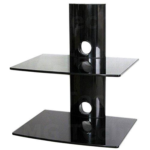 M&G Techno Media Player Konsole Regal Anlageträger Zwei Glasplatten Wandhalterung Schwarz
