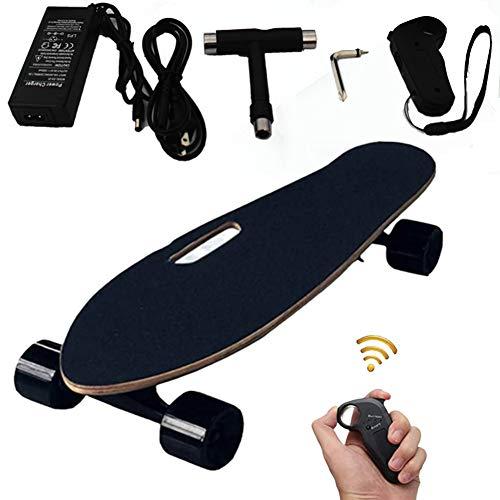 FGKING E-Skateboard, Skateboard elektrisch mit Motor, E- Longboard, Elektroantrieb, Elektrisches Skateboard Longboard Skateboard mit Funkfernbedienung auf Vier Rädern, Höchstgeschwindigkeit 15km/h