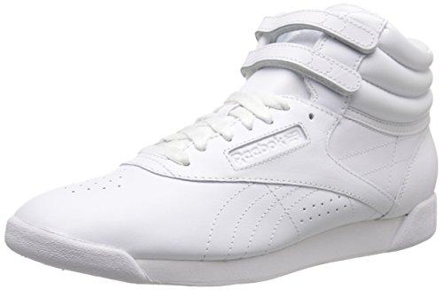 Reebok Women's Freestyle Hi Walking Shoe, White/Silver, 9.5