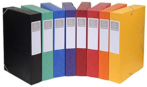Exacompta - Réf. 19500H - 10 boites de classement avec élastiques CARTOBOX - livrées à plat - dos de 5 cm-carte lustrée 7/10ème - 600g/m²-dimensions 25x33cm -format à classer A4-8 couleurs assorties