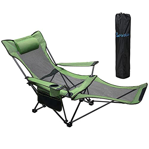 METKIIO Portable Camping Chair with Adult Detachable Footrest Mesh Folding Recliner, Can Sit and Lie Down, with Cup Holder and Storage Mesh Bag, Net Weight 9.5 Pounds, Heavy Support 330lbs, Green