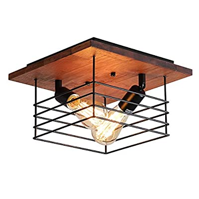 Rustic Farmhouse Wood Flush Mount Light Fixture Two-Light Metal Cage Industrial Flush Mount Ceiling Light for Hallway Bedroom Kitchen Entryway, Black