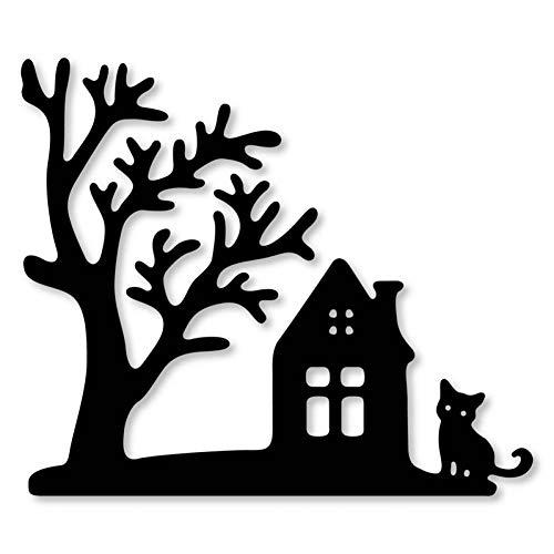 Pixiey Stanssjabloon voor het knutselen van Halloween, bomen, huis, kat, frame, metaal, muis, sjabloon voor knutselen, scrapbooking, beurt, handwerk, papier, kaartreliëf