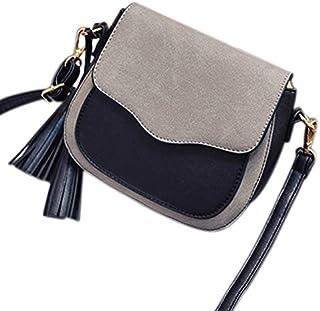 TOOGOO New Trend Women Handbags Retro Simple Flap Fashion Shoulder Bag Tassel Ornaments Women Messenger Bag Crossbody Bag Tote Light Grey