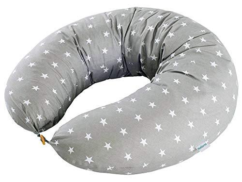 Nafarm, cuscino per allattamento, misura XXL, per gravidanza, per dormire sul fianco, per mamme incinte, federa lavabile, 100% cotone