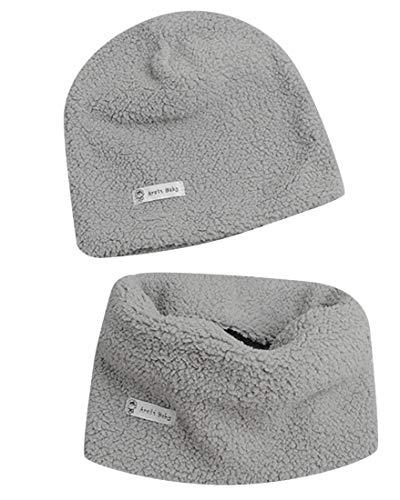 heekpek Set di Berretto e Sciarpa Colletto per Bambino Cappello a Maglia per Neonato Cotone Cappello e Sciarpe Bandana da Bambino Inverno Set Cappello e Sciarpa per Bambini Caldo Spesso